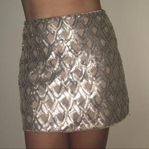 Sequined gold skirt